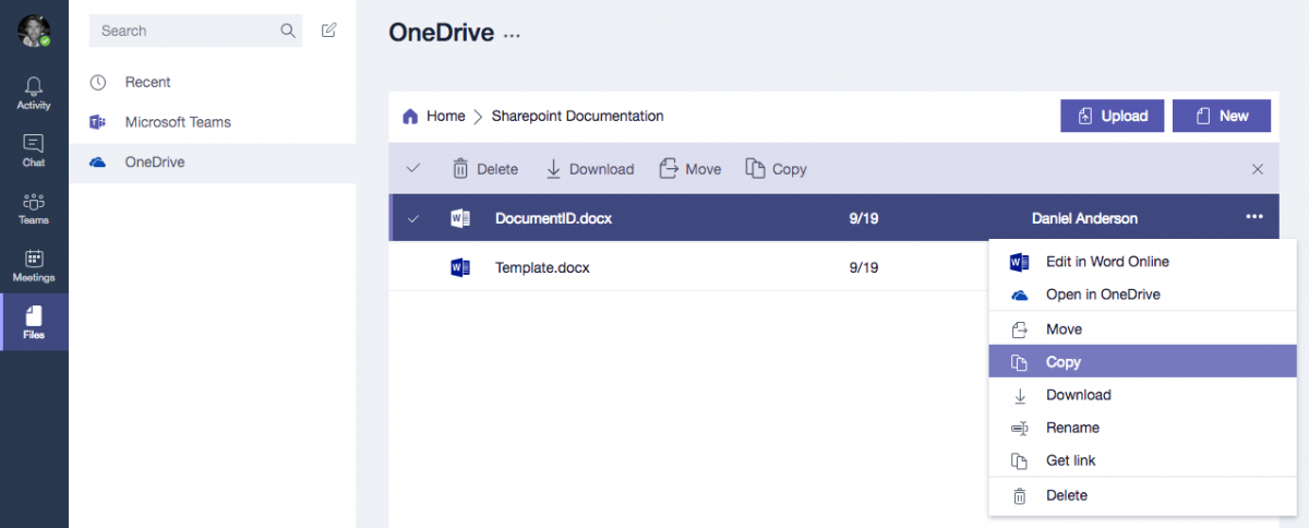 Copy Documents from OneDrive for Business to a Microsoft Team