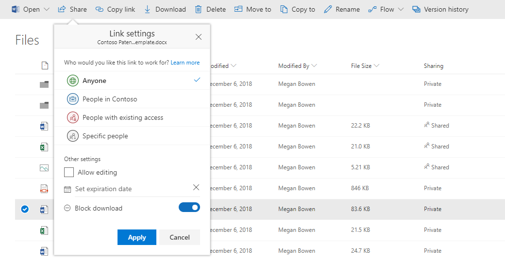 Block Downloading from sharing links in OneDrive and